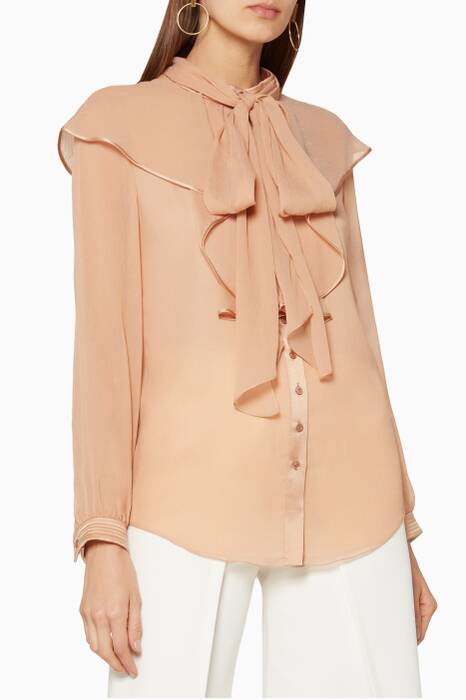 Blush-Beige Ruffled Long-Sleeve Blouse