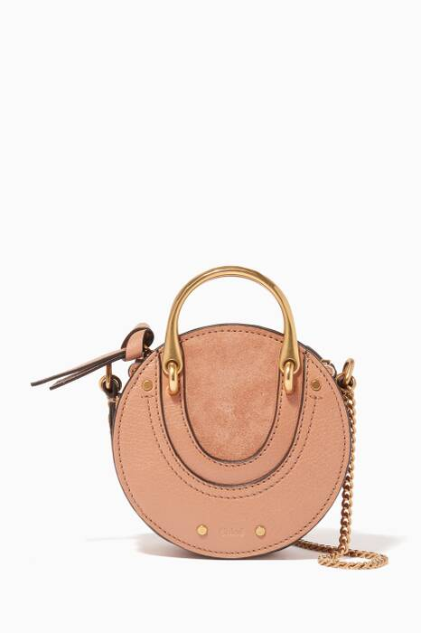 Nougat Mini Pixie Suede Leather Cross-Body Bag