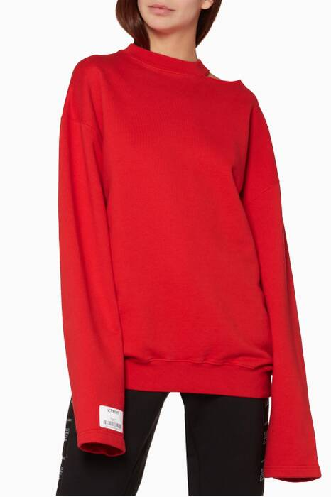 Red Open-Shoulder Crewneck Sweatshirt