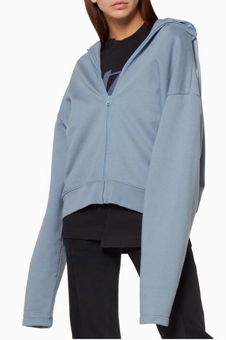 Light-Blue Patch-Up Zip-Up Hooded Jacket