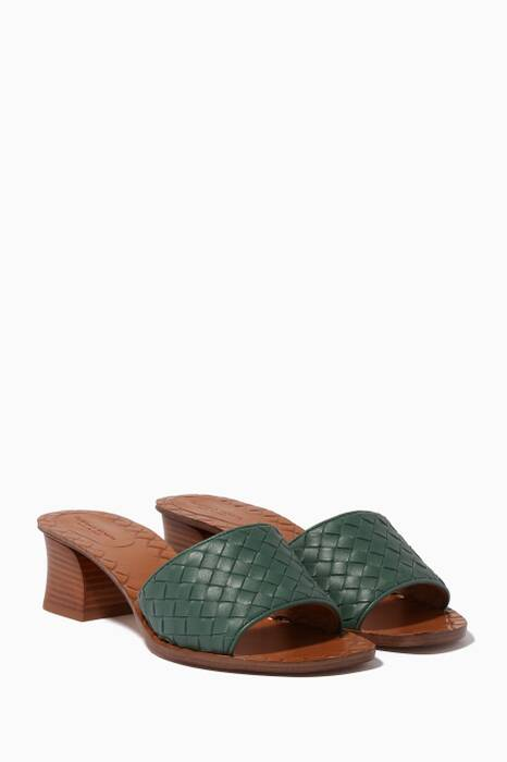 Green Ravello Intrecciato Leather Sandals
