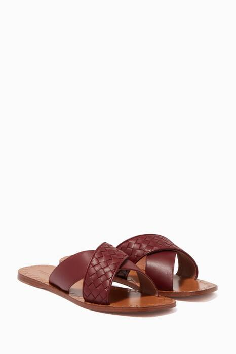 Dark-Red Intrecciato Criss-Cross Sandals