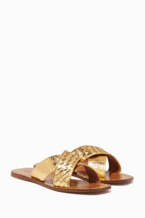 Metallic-Gold Intrecciato Criss-Cross Sandals