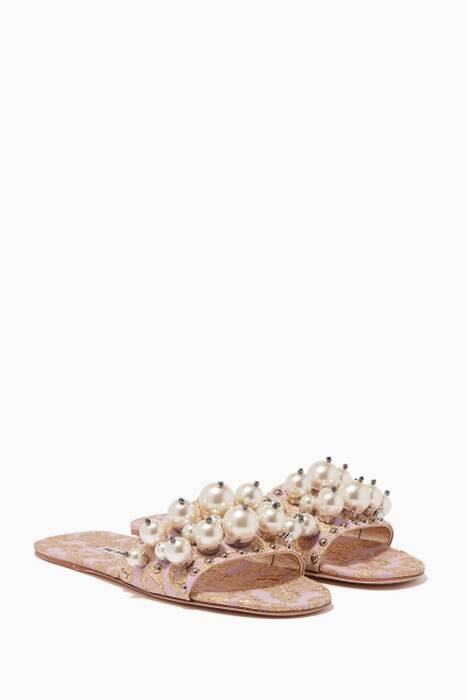Light-Pink Embellished Brocade Slides
