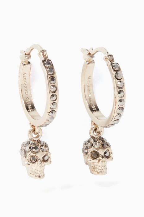 Gold Embellished Skull Hoop Earrings