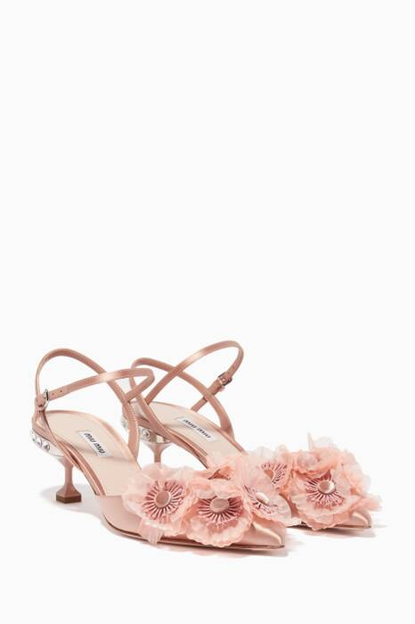 Light-Pink Floral Appliqué Pumps