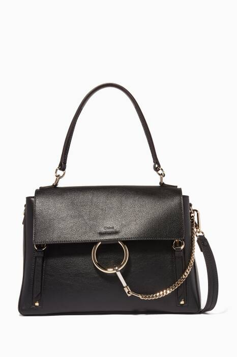 Black Medium Faye Leather Day Bag
