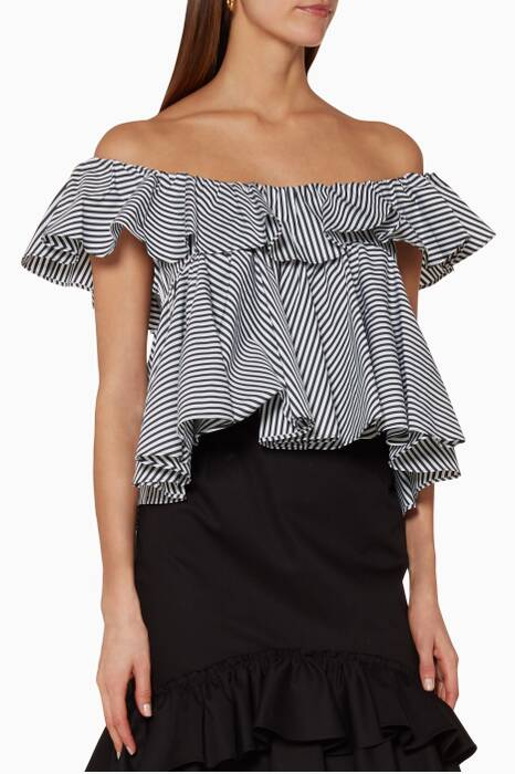Black & White Off-Shoulder Striped Top