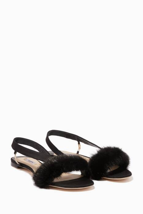 Black Mink-Trimmed La Croisette Sandals