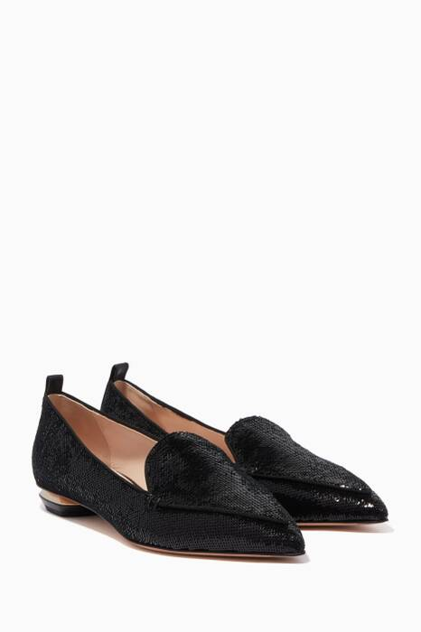 Black Beya Sequin Loafers