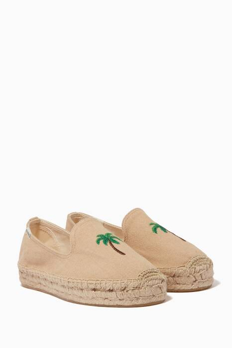 Beige Palm Tree Espadrille Smoking Slippers