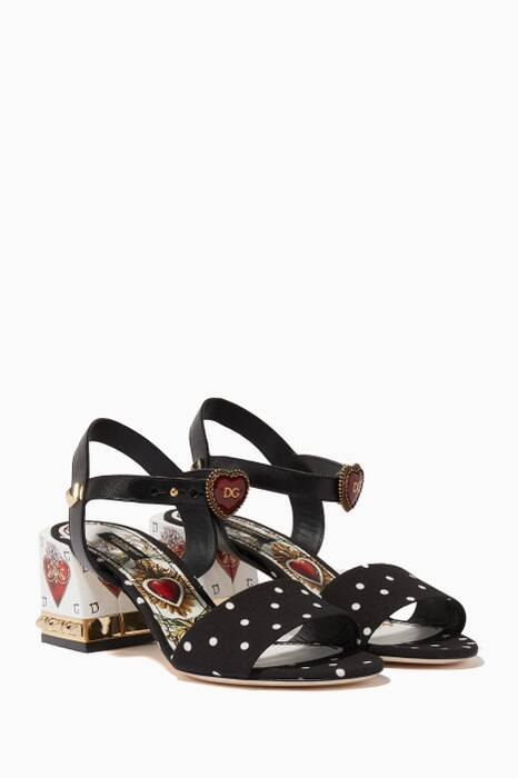 Black Keira Embellished Block-Heel Sandals