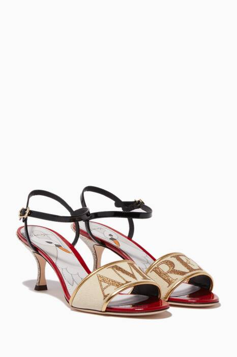 Multi-Colour Amore Embroidered Sandals