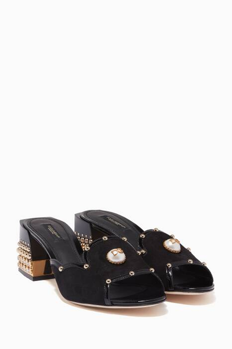 Black Bianca Suede Embellished Sandals