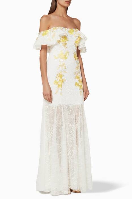 White & Yellow Ruffled Off-The-Shoulder Gown