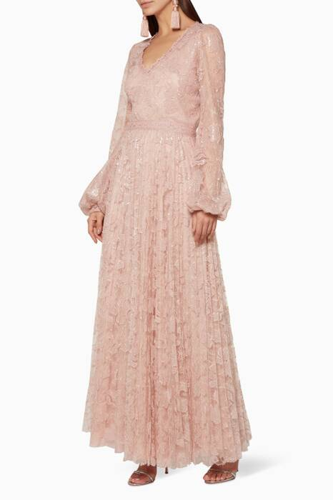 Light-Pink Embellished Lace Gown