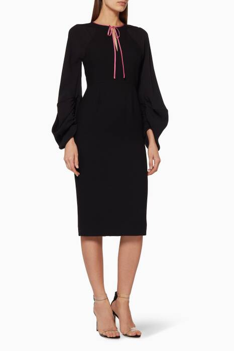 Black Puff-Sleeve Atlen Pencil Dress