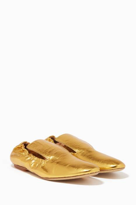 Gold Crinkle Metallic Stretch-Back Loafers