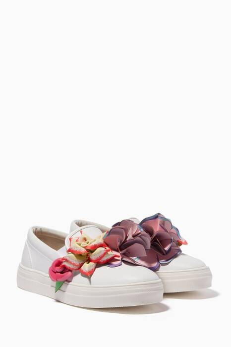 White Lilico Adele Floral-Appliqué Sneakers