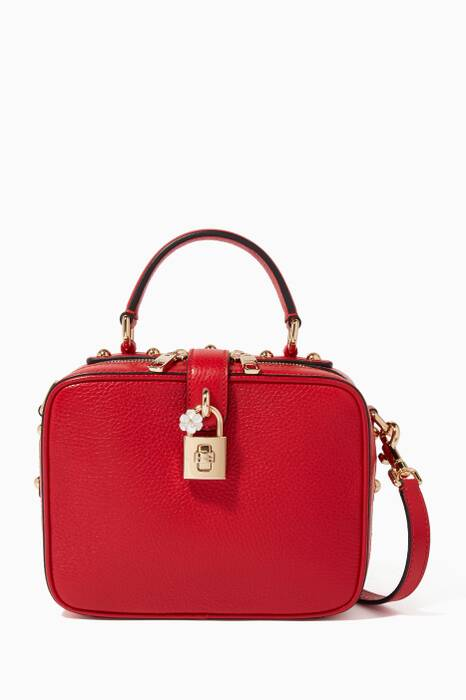 Red Soft Grained-Leather Dolce Box Bag