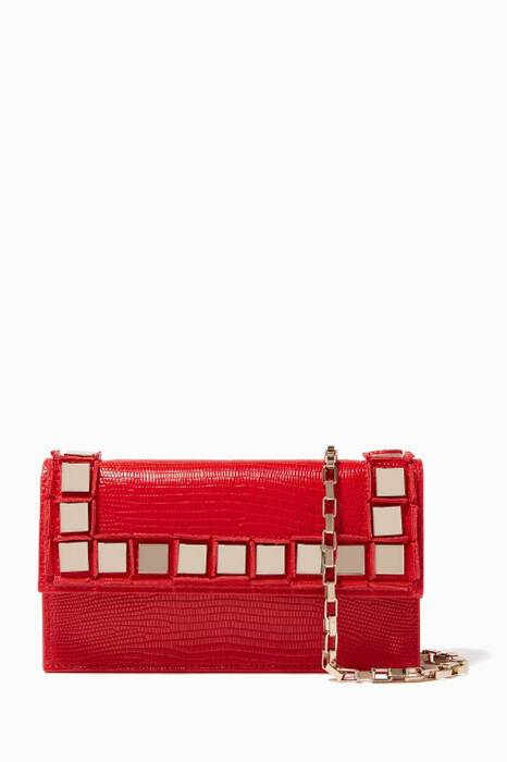 Red Lizard-Embossed Amber Shoulder Bag
