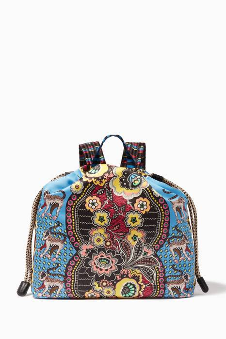 Blue Jungle Print Backpack