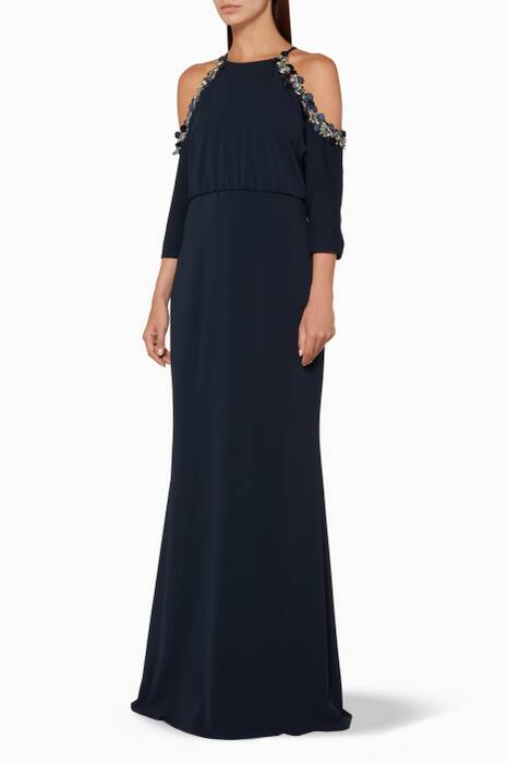 Navy Cold-Shoulder Gown