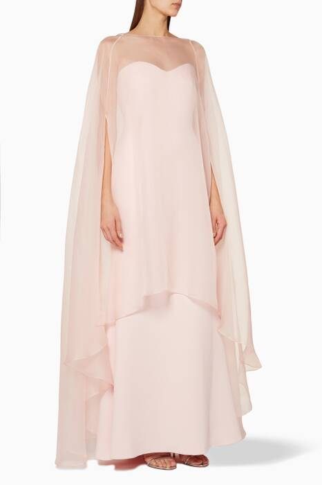 Light-Pink Organza Overlay Gown