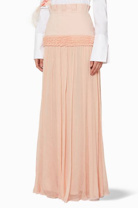 Light-Pink Crepe Maxi Skirt