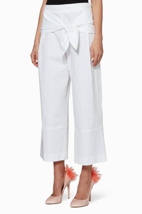 White Knot-Belt Wide-Leg Pants