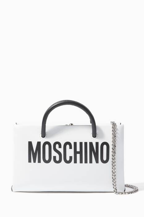 White Logo Leather Clutch