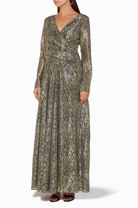 Black & Gold Long-Sleeve Metallic Gown