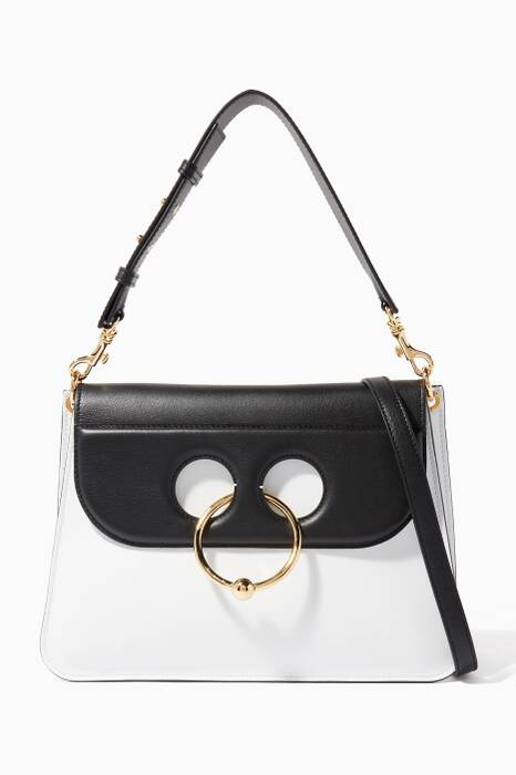 White Medium Pierce Shoulder Bag