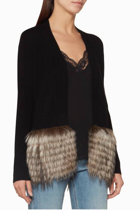 Black Fur-Trimmed Cardigan