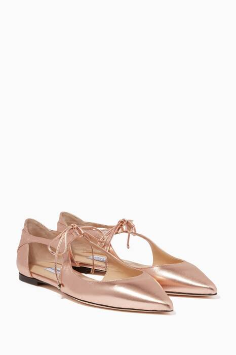 Rose-Gold Vanessa Leather Flats