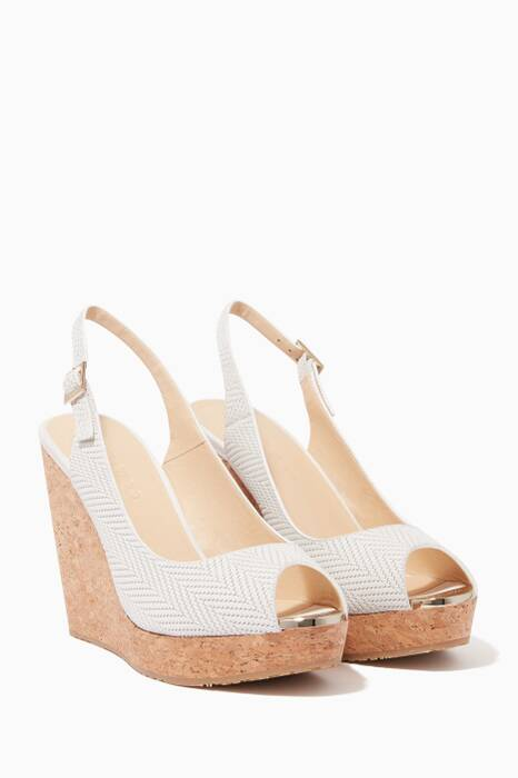 Light-Beige Knit Embossed Wedges