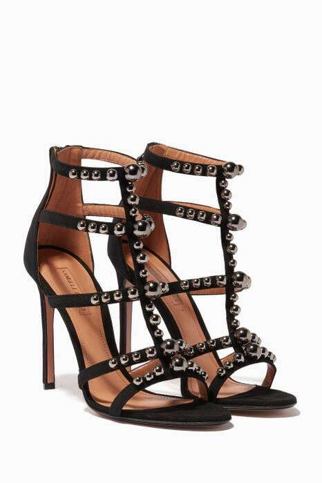 Black Kandy Suede Studded Cage Sandals