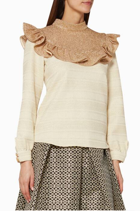 Gold Ruffled Yoke Top