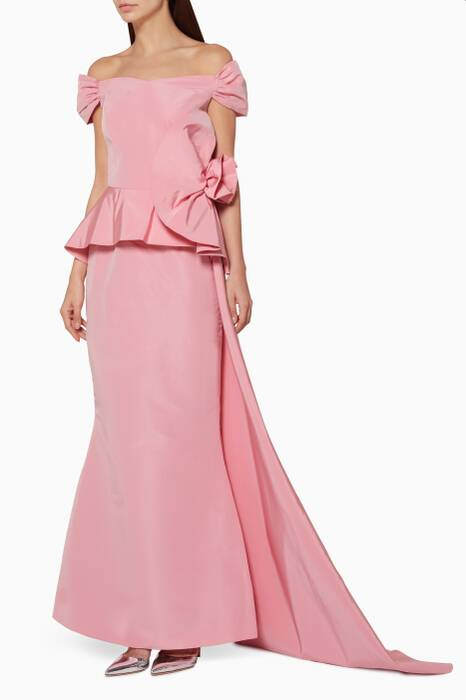 Light-Pink Ruffled Peplum Gown