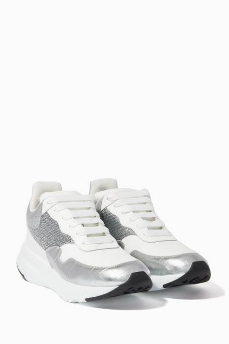 White & Silver Thick Sole Runner Sneakers