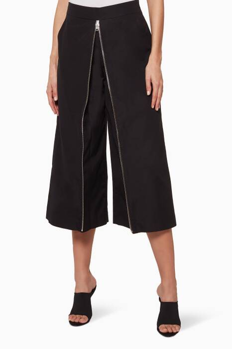 Black Zip-Detail High-Waist Culottes