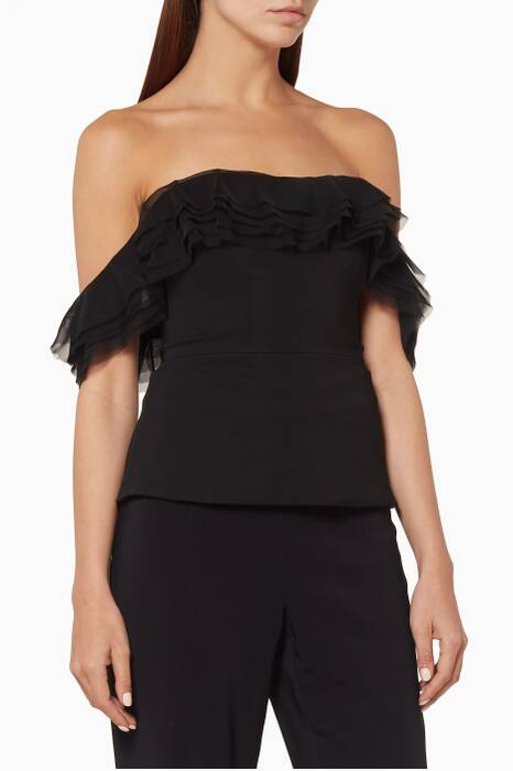 Black Off-Shoulder Kahlo Top