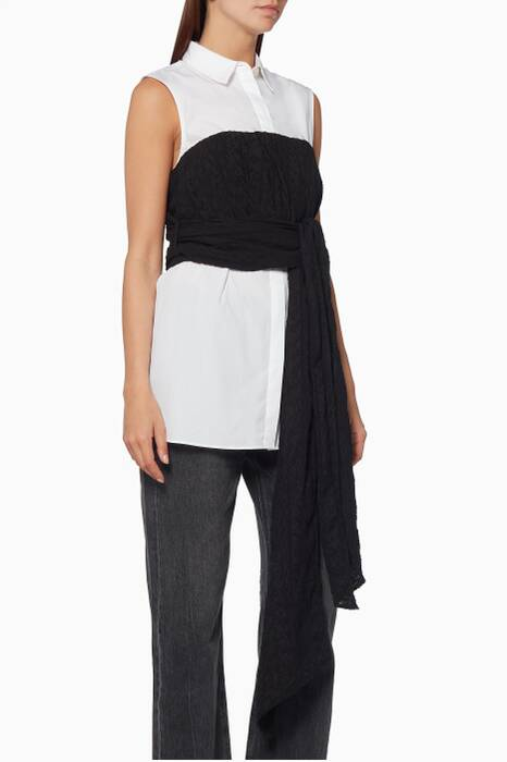 White & Black Whitland Bustier Shirt