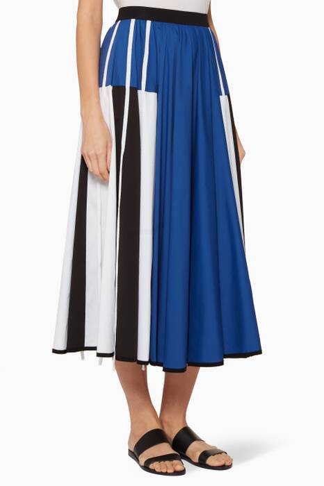 Marine-Blue & Ivory Panelled Skirt