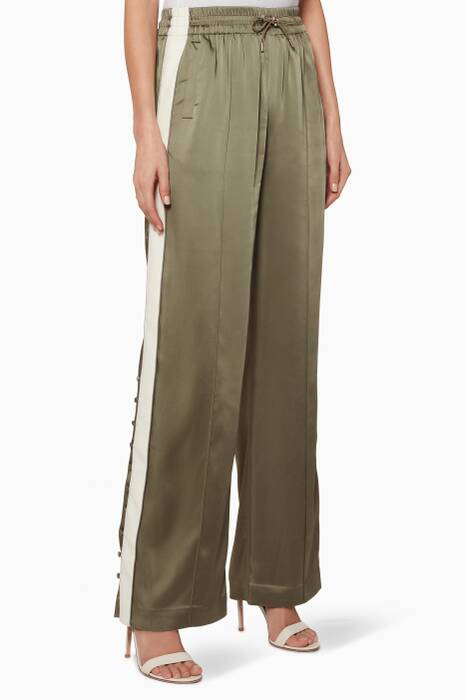 Khaki-Green Side-Striped Track Pants