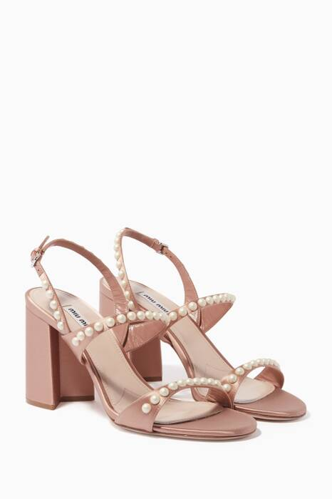 Nude Pearl-Embellished Block-Heel Sandals