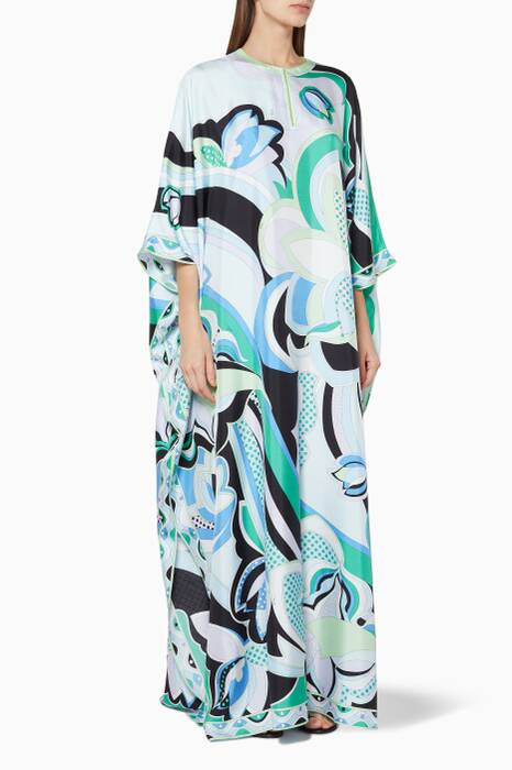 Multi-Coloured Printed Silk Kaftan