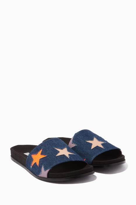 Dark-Blue Star Embellished Slides