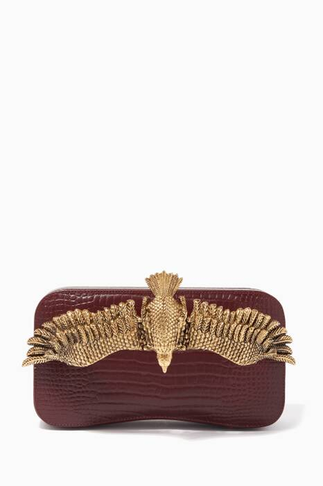Burgundy Soaring Eagle Croc-Embossed Leather Clutch
