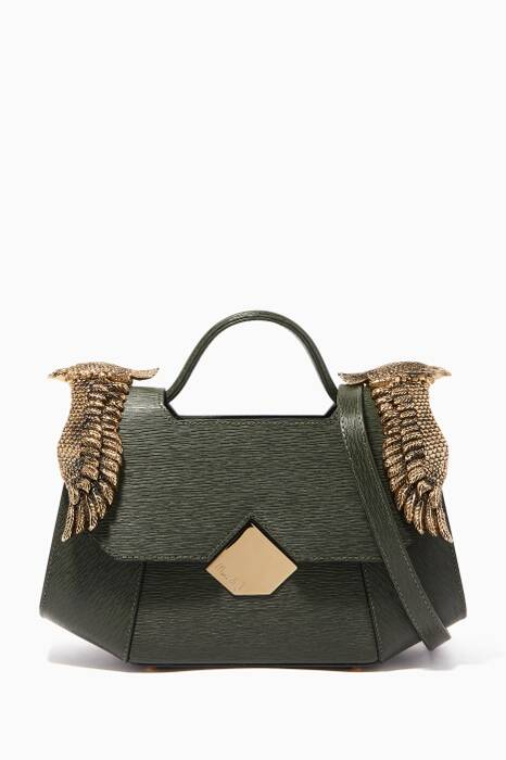 Olive Green Baby Colonel Lizard-Effect Shoulder Bag
